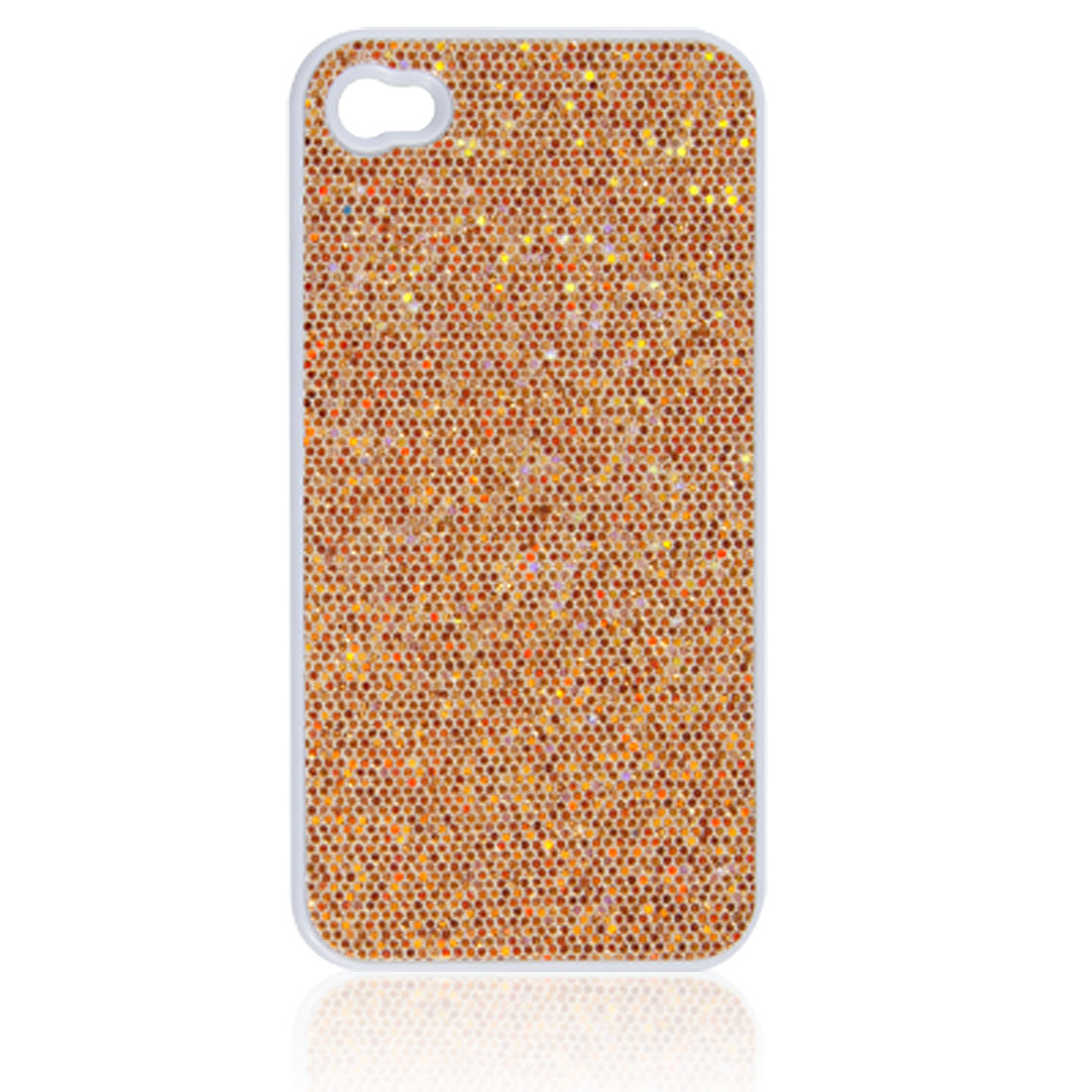 Gold Tone Plastic Sequins Powder Decor Shell Back Case for iPhone 4 4G 4S