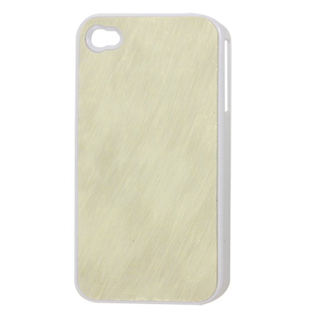 Ivory Faux Leather Coated Plastic Back Cover Case for iPhone 4 4G 4S