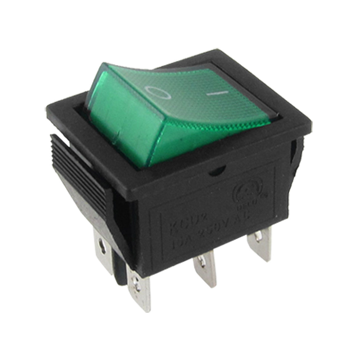 AC 250V 15A Green Light Illuminated 6 Pin DPDT ON/ON Boat Rocker Switch 26x22mm