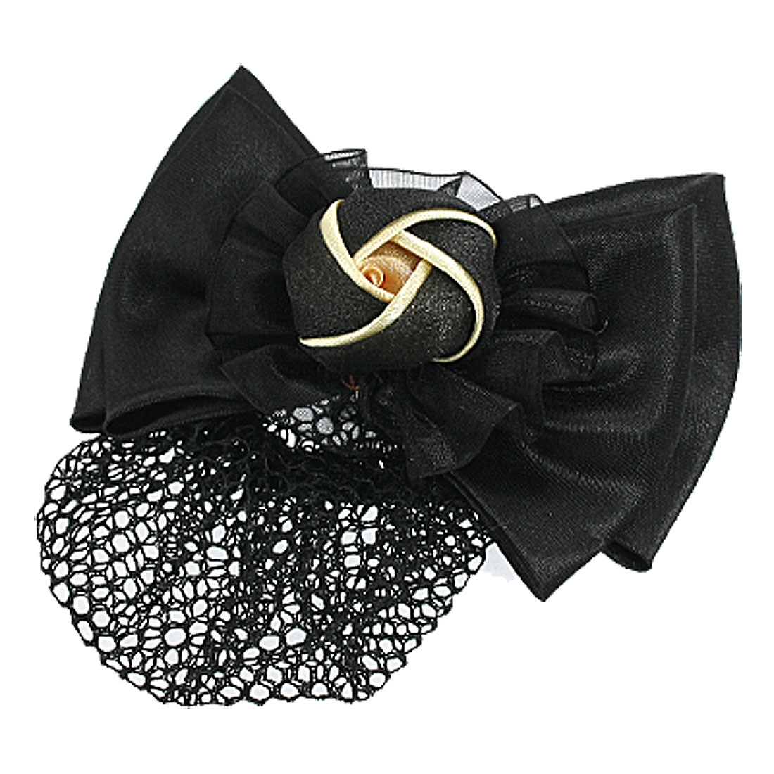 Woman Black Flower Polyester Bowtie Accent Hairclip Snood Net Barrette
