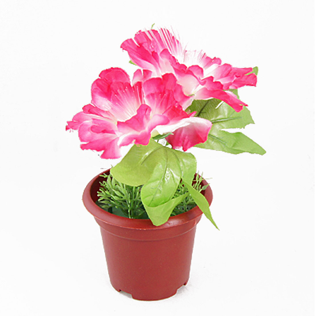 Home Plastic Pot Fuchsia White Flower Flashlight Lamp Desktop Decor