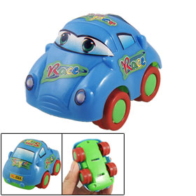 Speed Pull Back Blue Plastic Cartoon Car Toy for Child