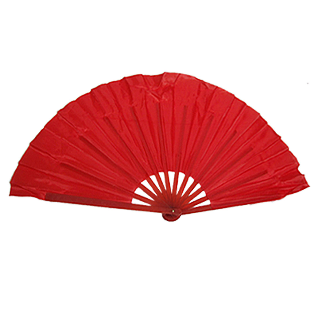 Pair Red Plastic Ribs Dancing Foldable Asian Hand Fan