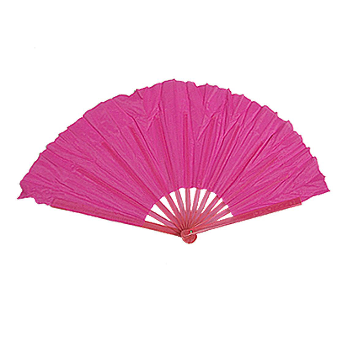 Pair Plastic Frame Foldable Fuchsia Dancing Hand Asian Fan