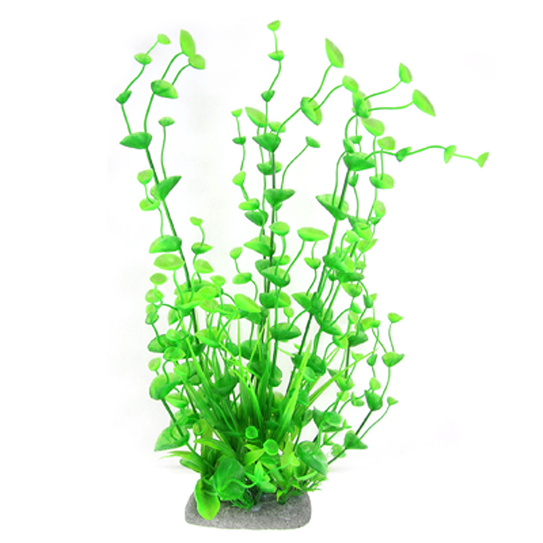 "Aquarium Green 13"" Height Plastic Plant w Ceramic Base"