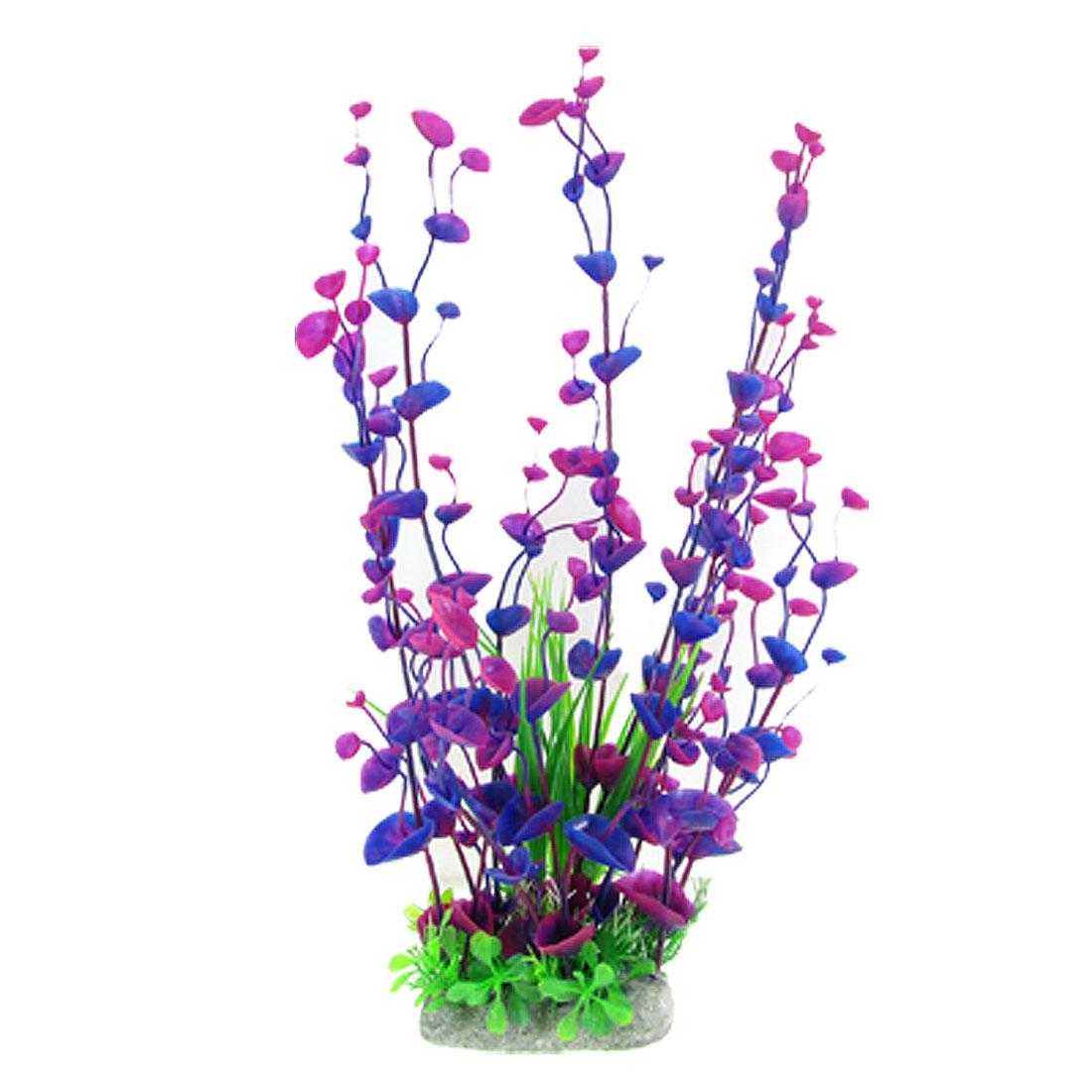 "Aquarium Green Plastic Long Leaves Grass 14.9"" High Blue Purple Plant"