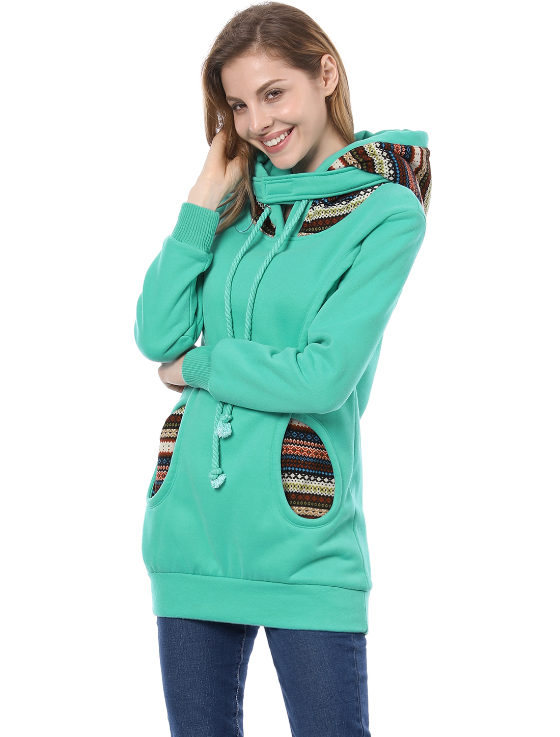 Allegra K Cyan Blue XS Print Hooded Long Sleeve Hoodie for Women