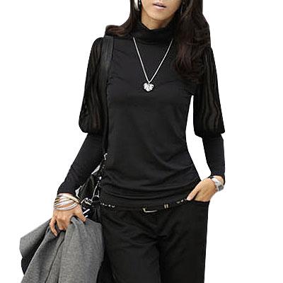 Woman Solid Black Long Bishop Sleeve Turtleneck Fall Shirt XS