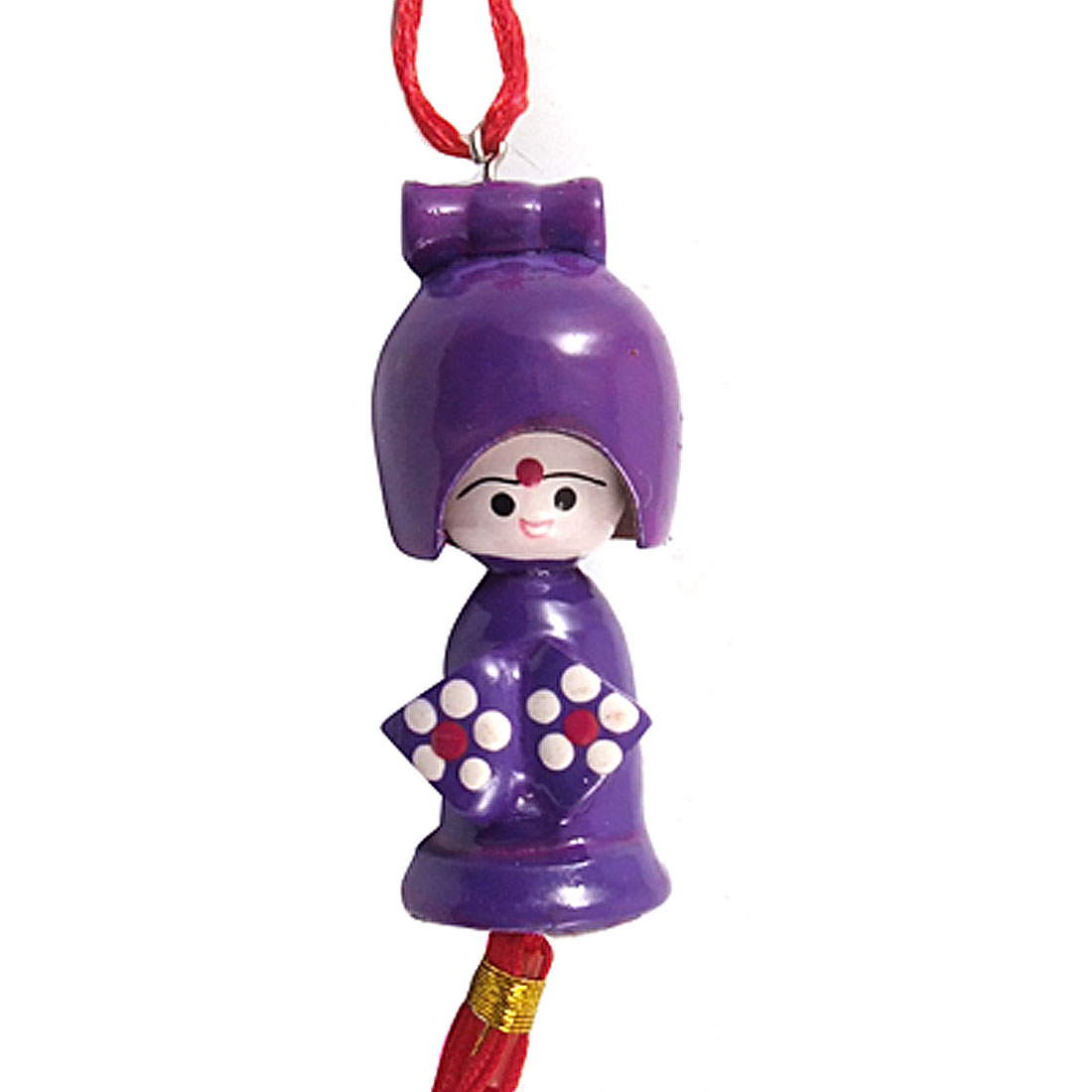 Red Chinese Knot Purple Wooden Kokeshi Kimono Doll Phone Handbag Strap Charm
