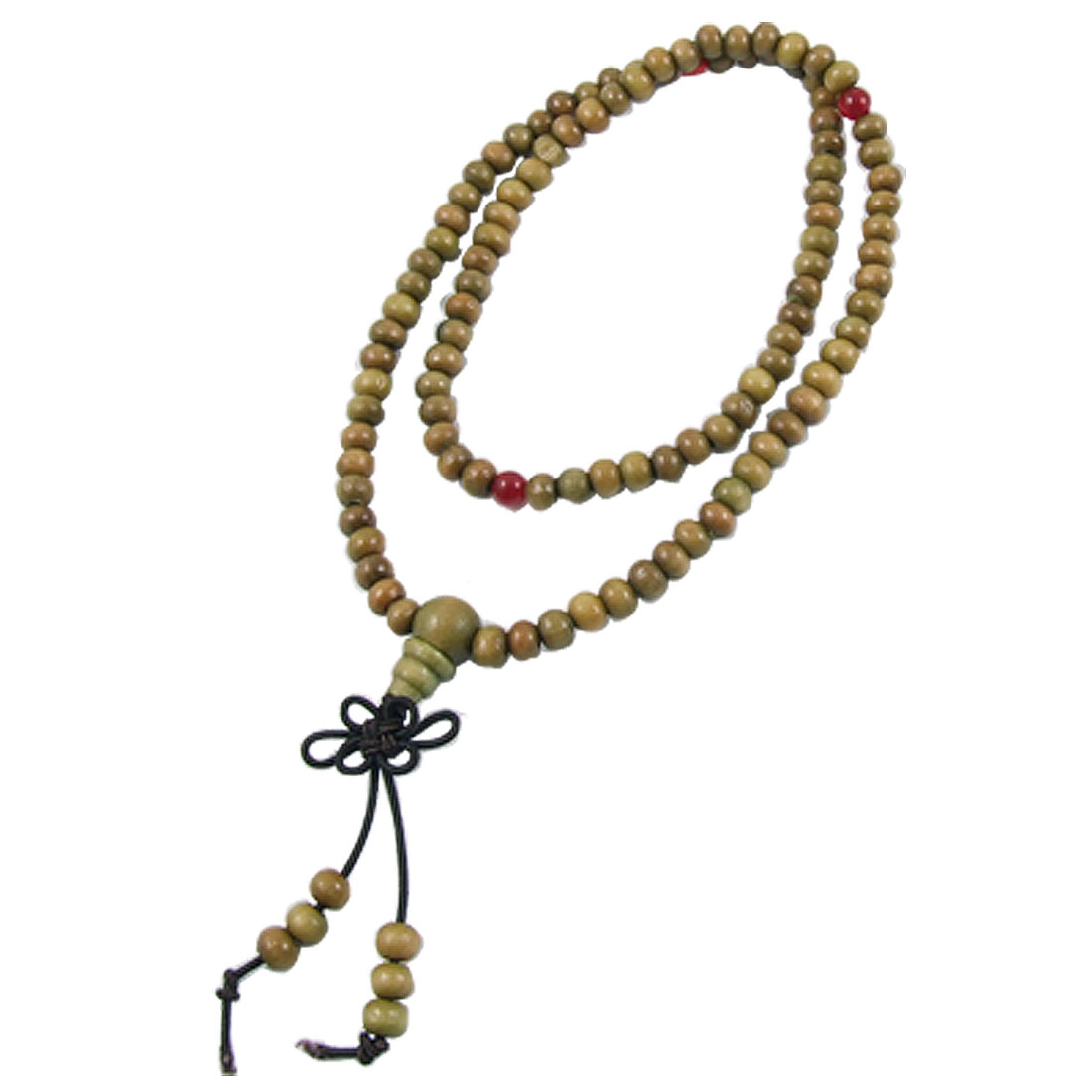 "18"" Olive Green 6mm Sandalwood Prayer Beads Mala Necklace Buddhist Rosary"