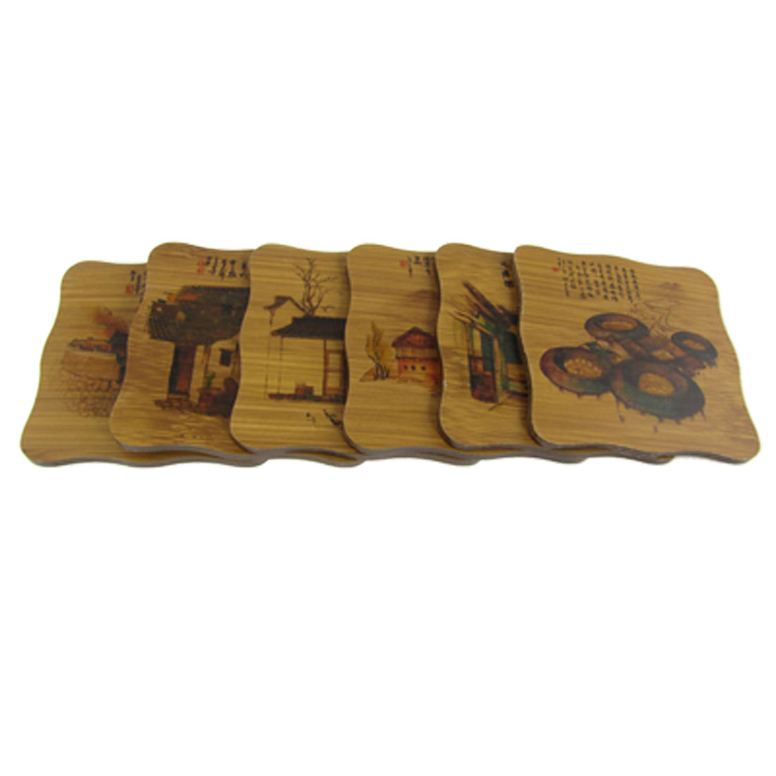 6 Pcs Village Tree Poem Print Square Bamboo Coasters Tea Glass Cup Mats w Holder