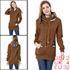 Printed Hooded Winter Pullover Coffee Color Outwear XS for Women