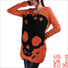 Woman Skull Pattern Long Sleeve Autumn Tunic Shirt Orange XS
