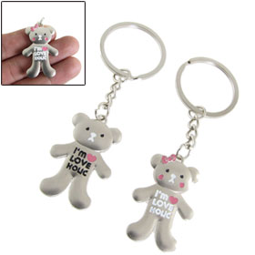Lover Gift Bear Pendant Metal Keyrings Keychain 2 Pcs