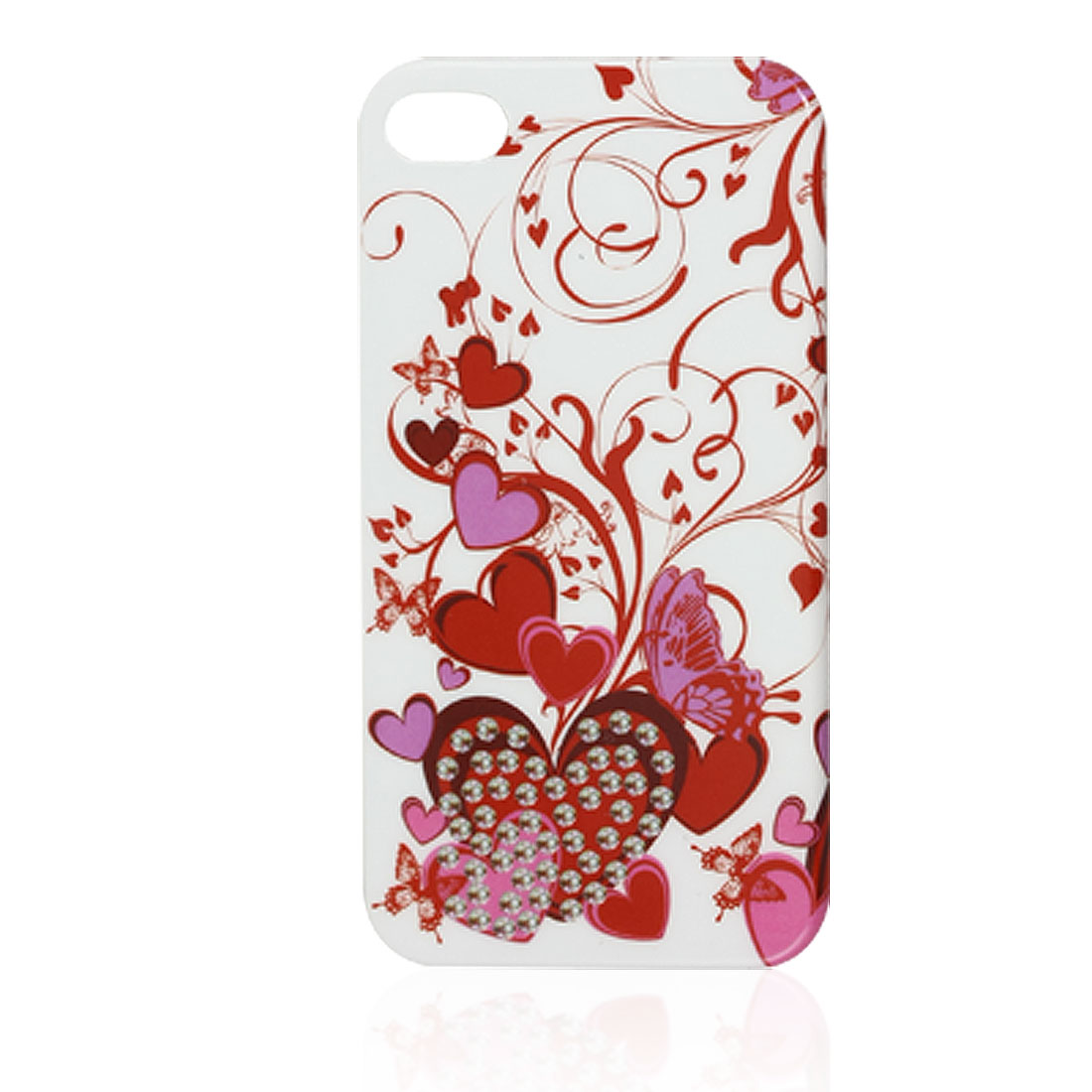 IMD Red Heart Pattern Plastic Back Cover Shell for iPhone 4 4G 4S