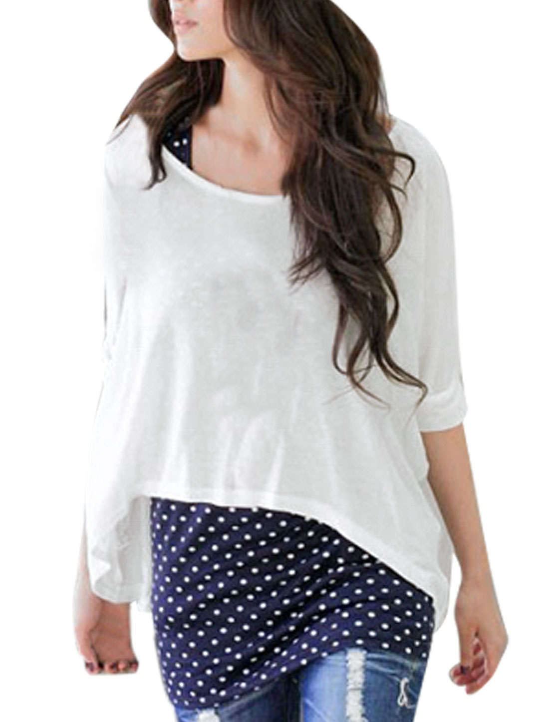White Scoop Neck Half Bat Wing Sleeve Shirt w Dots Tank Top XS for Women