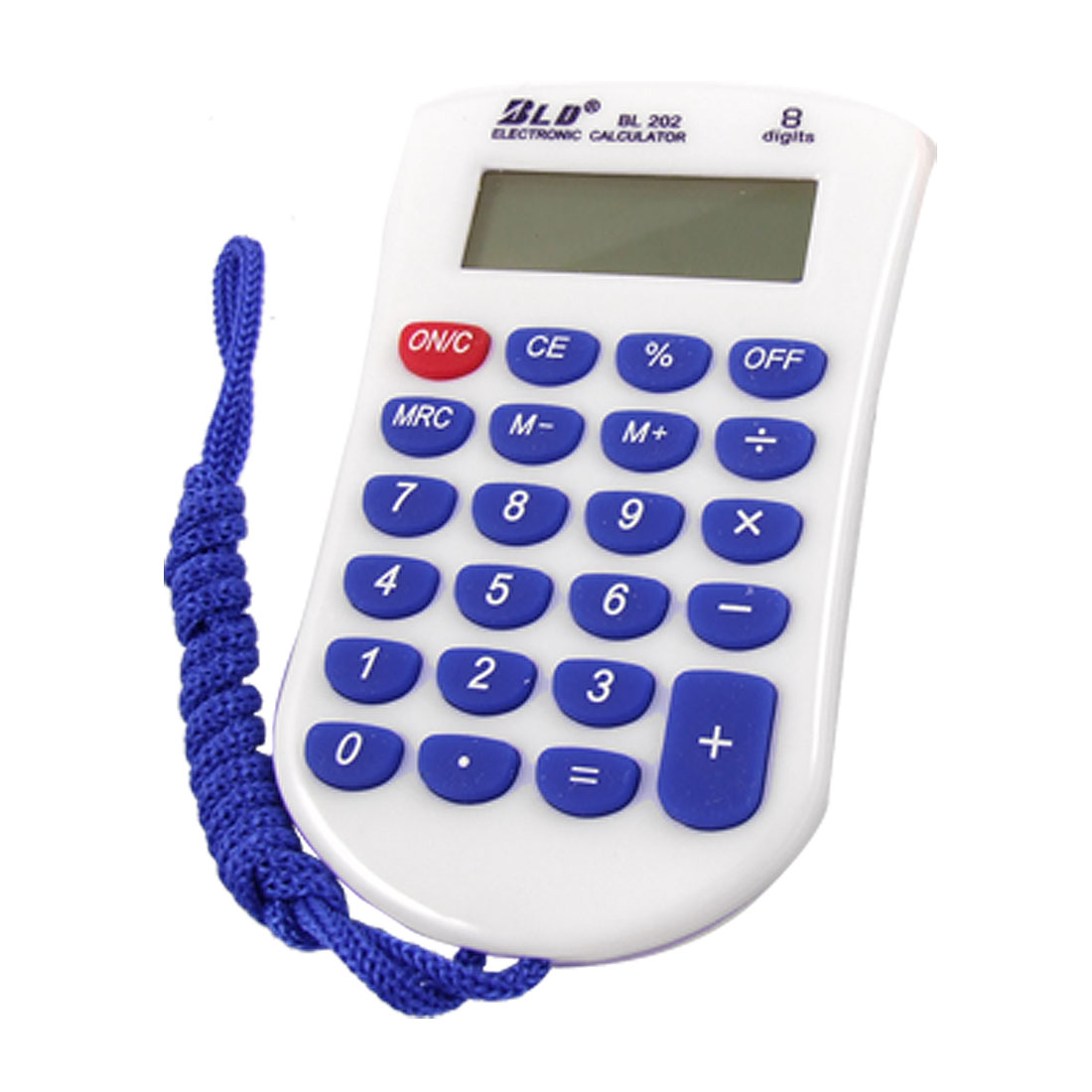 Blue 23 Rubber Keys White 8 Digit Pocket Calculator w Neck String