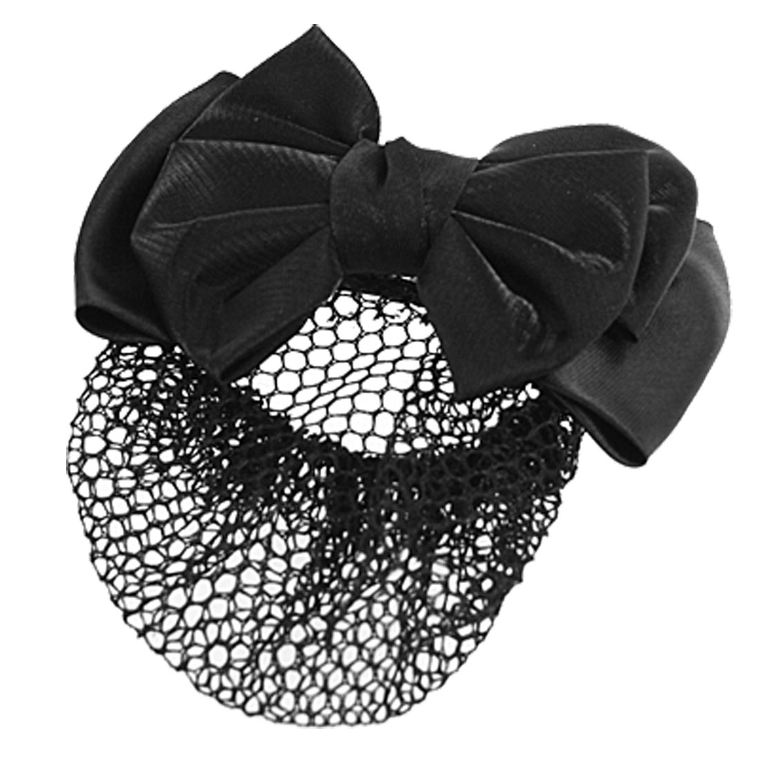 Women Polyester Bowknot Shape Barrette Hair Bun Cover Clip Snood Hairnet Black