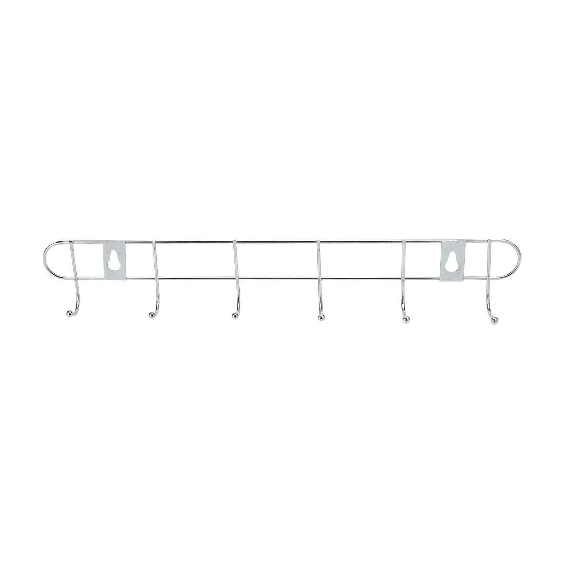 Bathroom Metal 6 Hooks Towel Coat Hanger Wall Rack Silver Tone