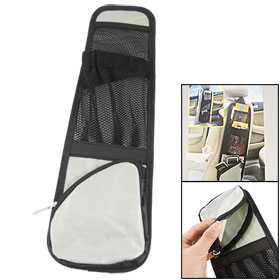 Car Seat Side Pocket 3 Compartments Drink Card Storage Bag Pouch Black Gray