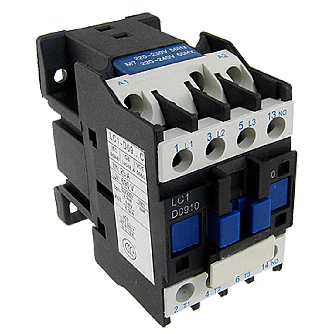 LC1D0910M7 AC Contactor 220 Volts Coil 3 Poles NO Contact 25A 690V