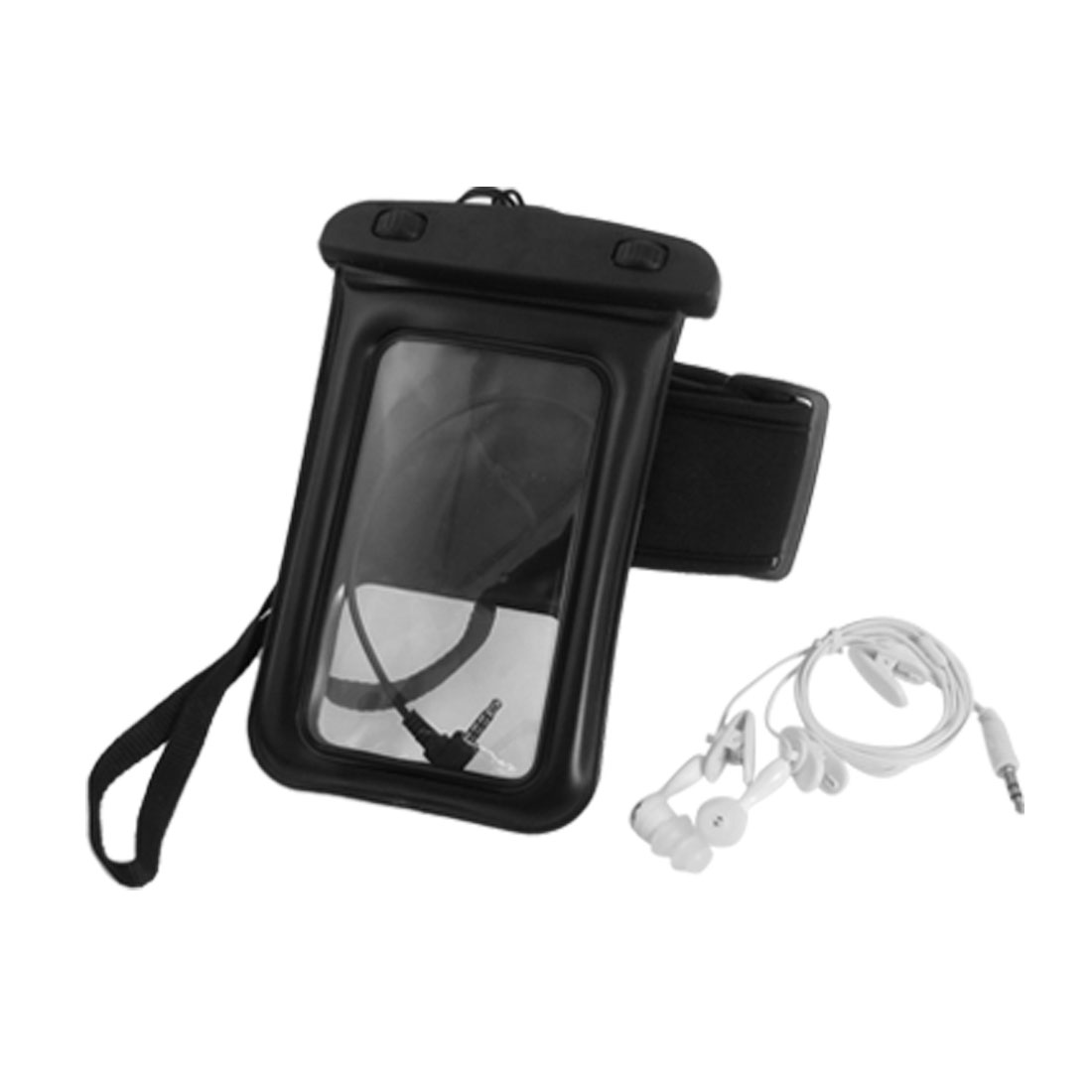Water Resistant Bag Holder Black + Neck Strap + Earphone + Armband