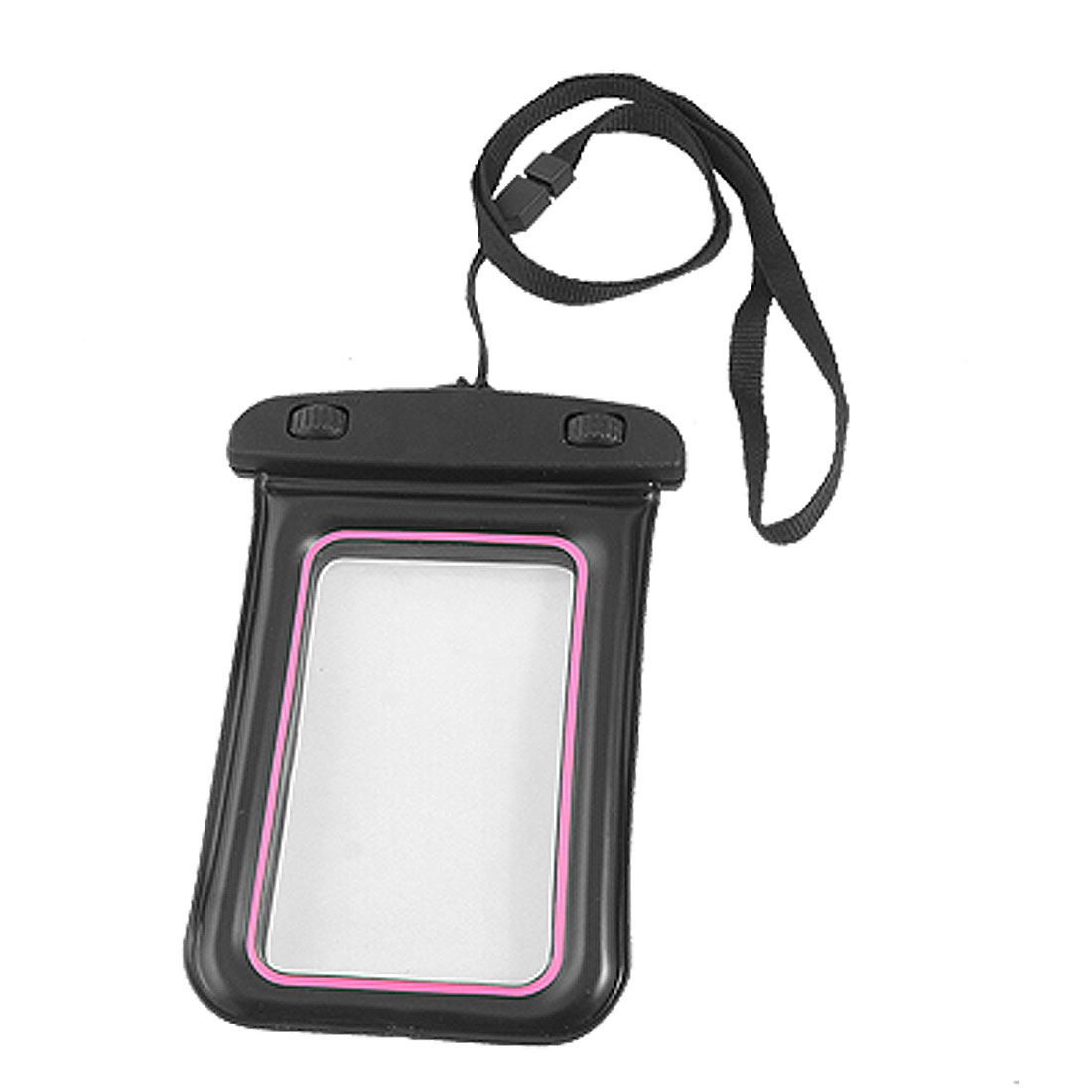 Water Resistant Bag Case Black Pink + Nylon Neck Strap for iPhone 4 4G 4S