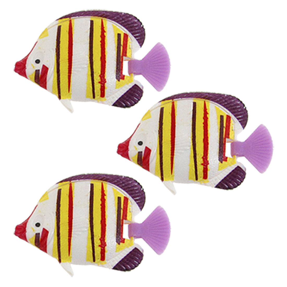 Aquarium Fish Tank Yellow White Plastic Swimming Fish Decoration 3 Pcs