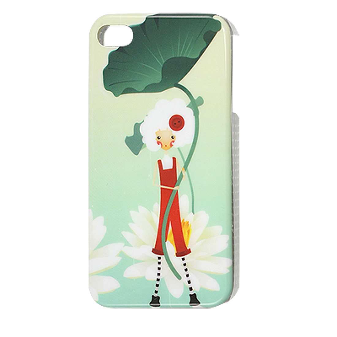 IMD Plastic White Lotus Pale Green IMD Back Shell Cover for iPhone 4 4G 4S