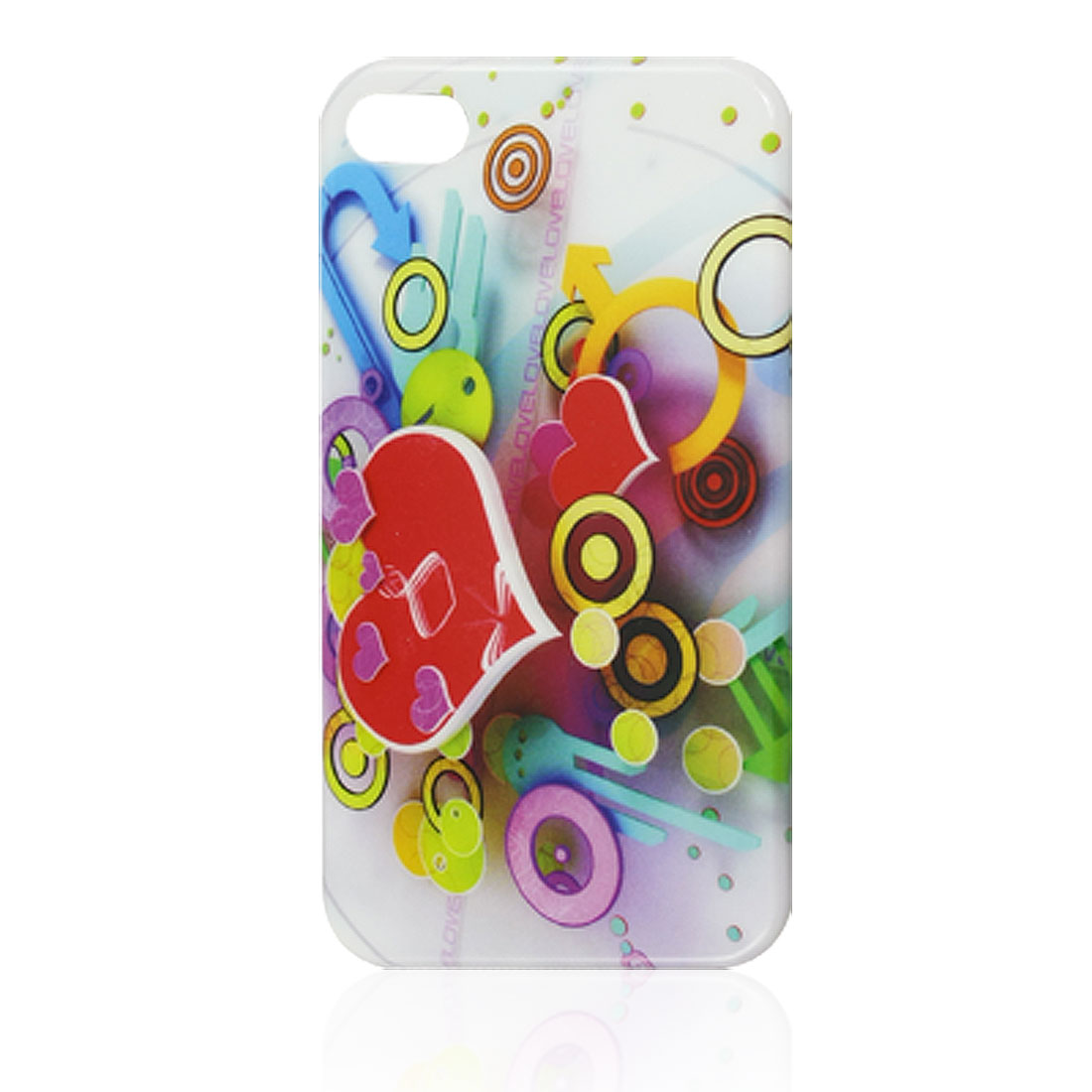 IMD Heart Circles Pattern Plastic Back Cover Case for iPhone 4 4G 4S