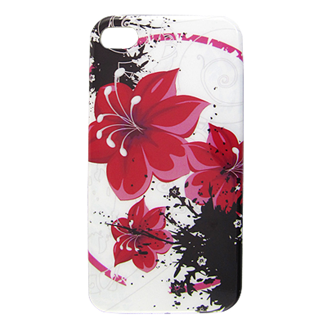 Red Flower Pattern White Hard Plastic IMD Protective Back Case for iPhone 4 4G 4S