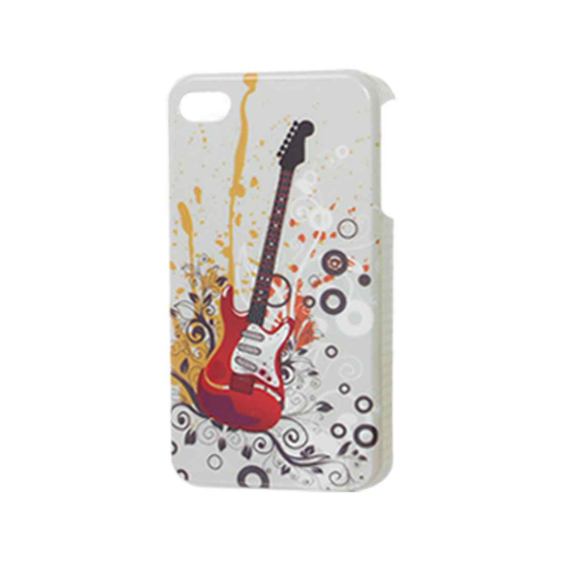 Red Guitar Hard Plastic IMD Back Guard Protector for iPhone 4 4G 4S