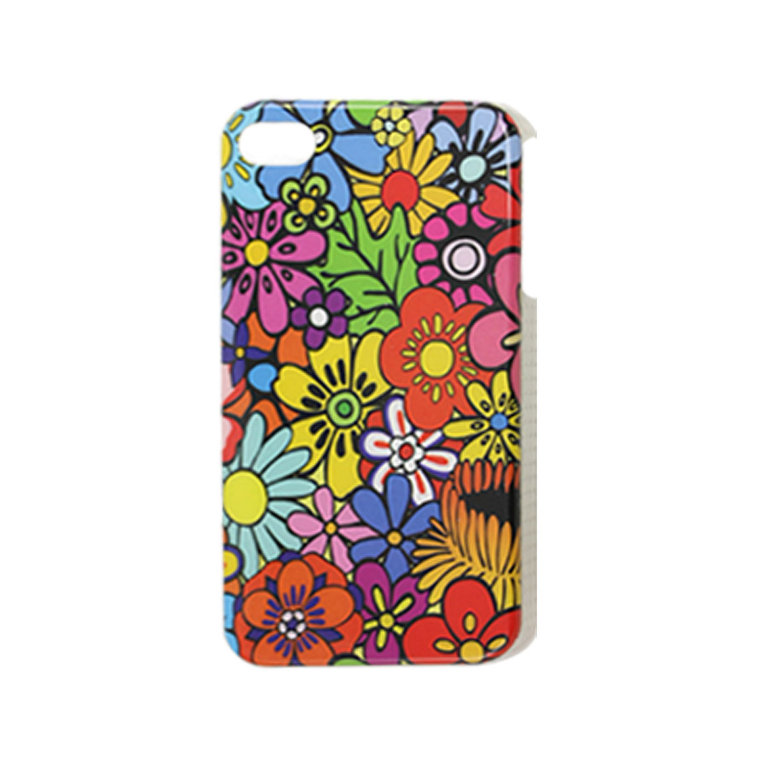 Colorful Flower Hard Plastic IMD Back Case for iPhone 4 4G 4S