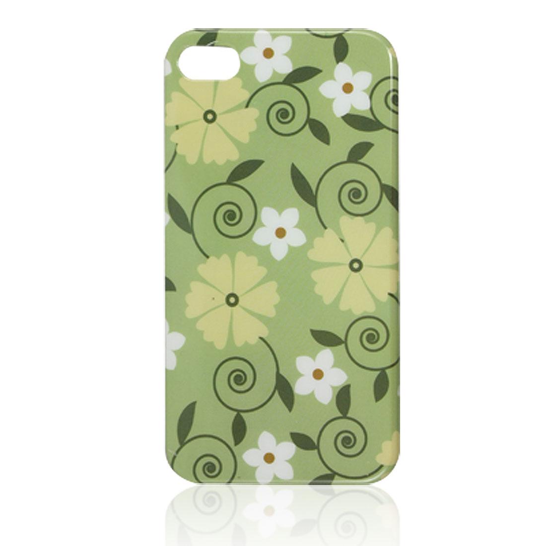 IMD Flower Leaf Detail Green Plastic Back Shell Case for iPhone 4 4G 4S