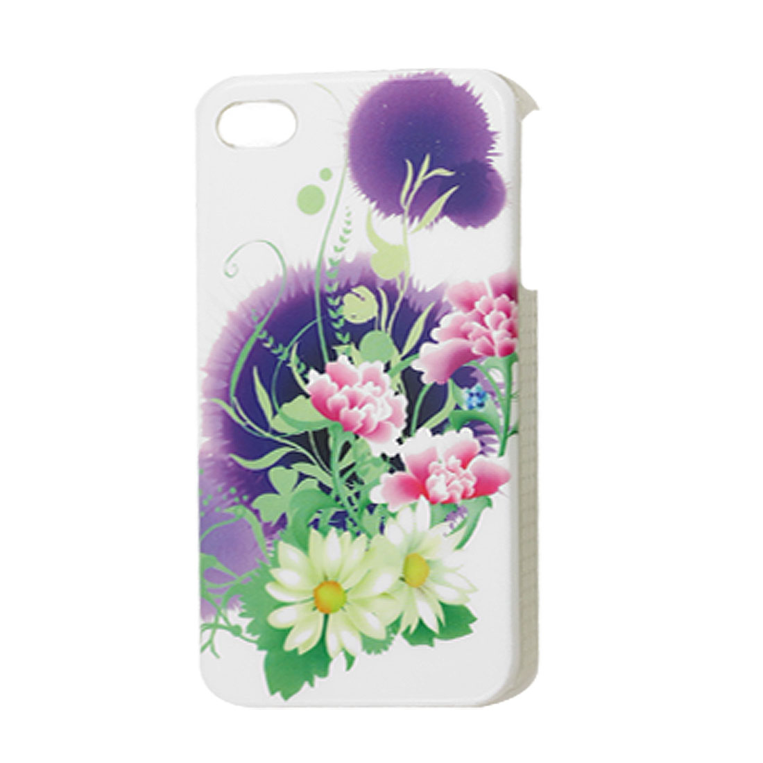 Floral Pattern Hard Plastic IMD Back Cover Guard for iPhone 4 4G 4S