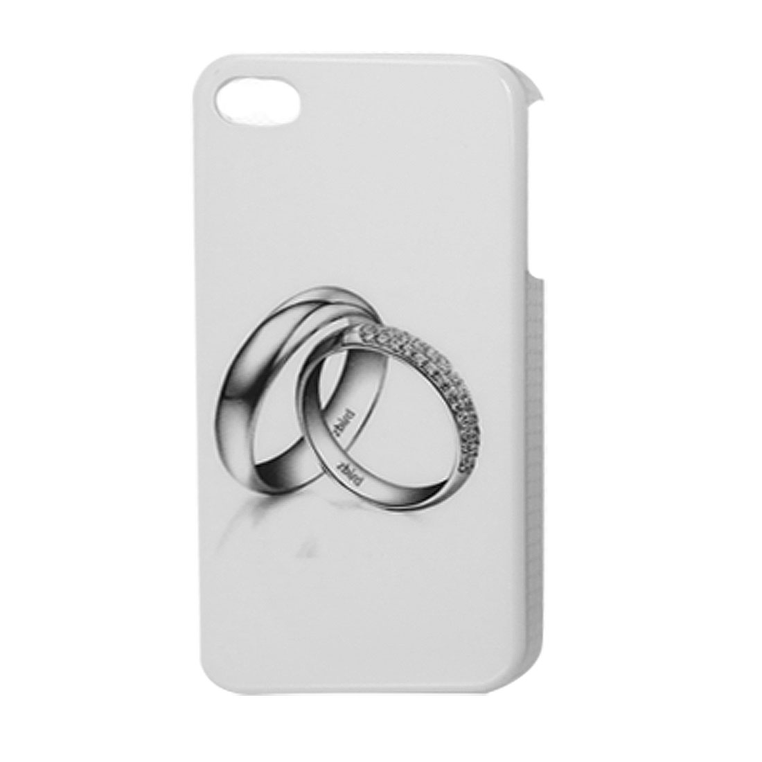 Double Rings Print Hard Plastic IMD Back Cover Guard White for iPhone 4 4G 4S