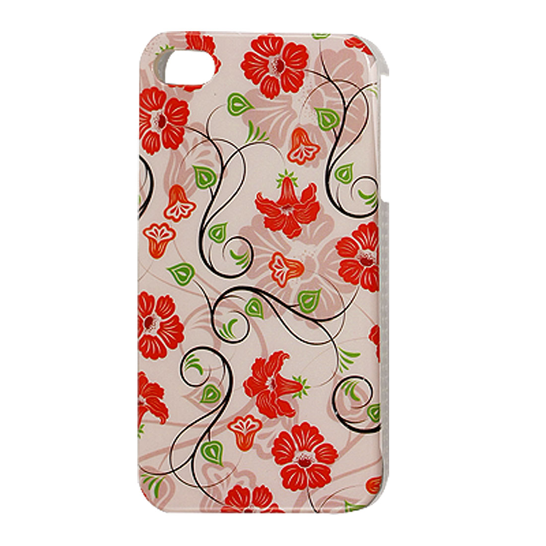 Red Flower Green Heart Leaf Light Pink Plastic IMD Back Case for iPhone 4 4G 4S