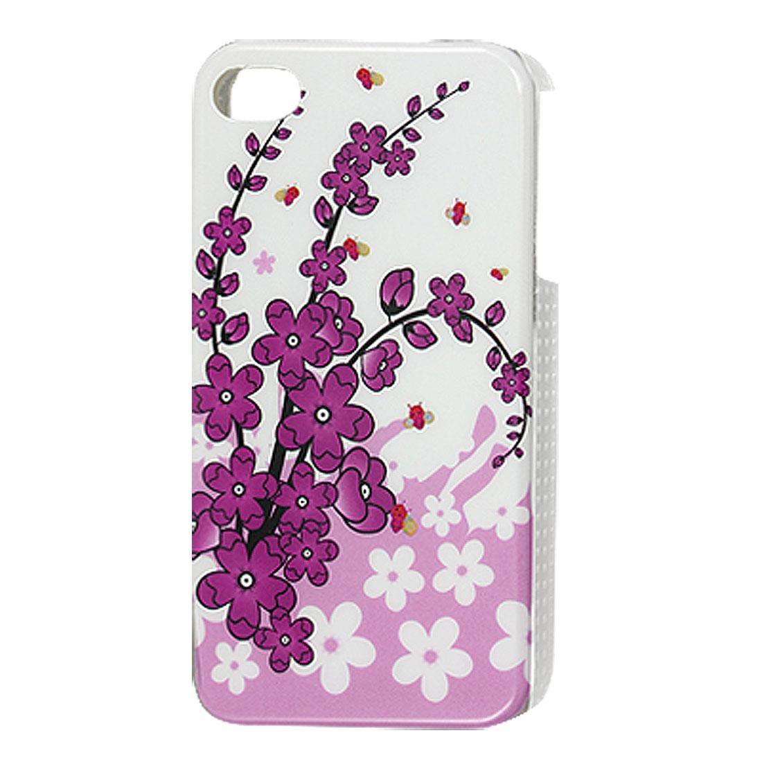 Purple White Flower Plastic IMD Back Cover Case for iPhone 4 4G 4S