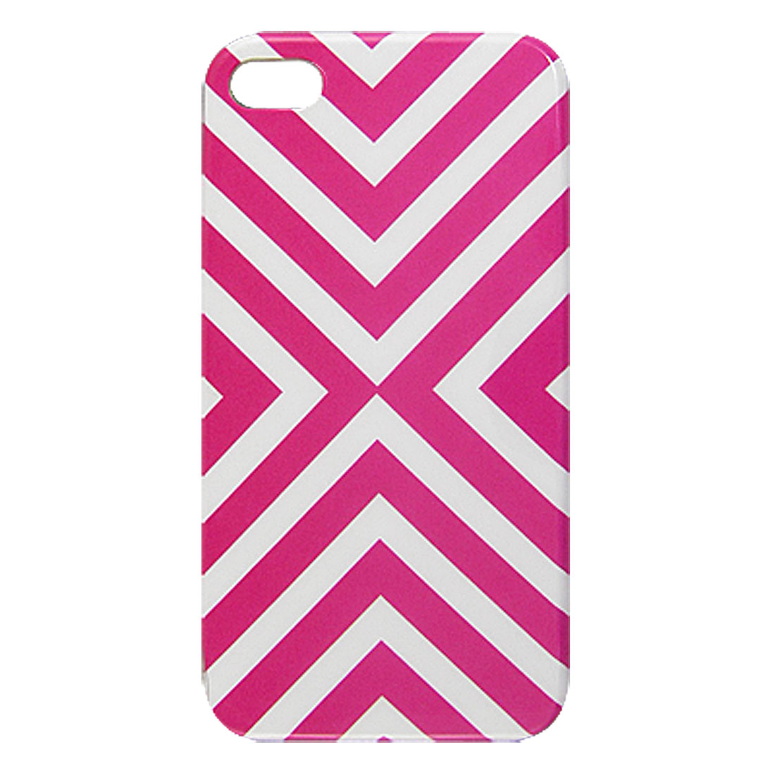 White Fuchisa Crossed Linellae Decor Hard Plastic IMD Back Case for iPhone 4 4G 4S