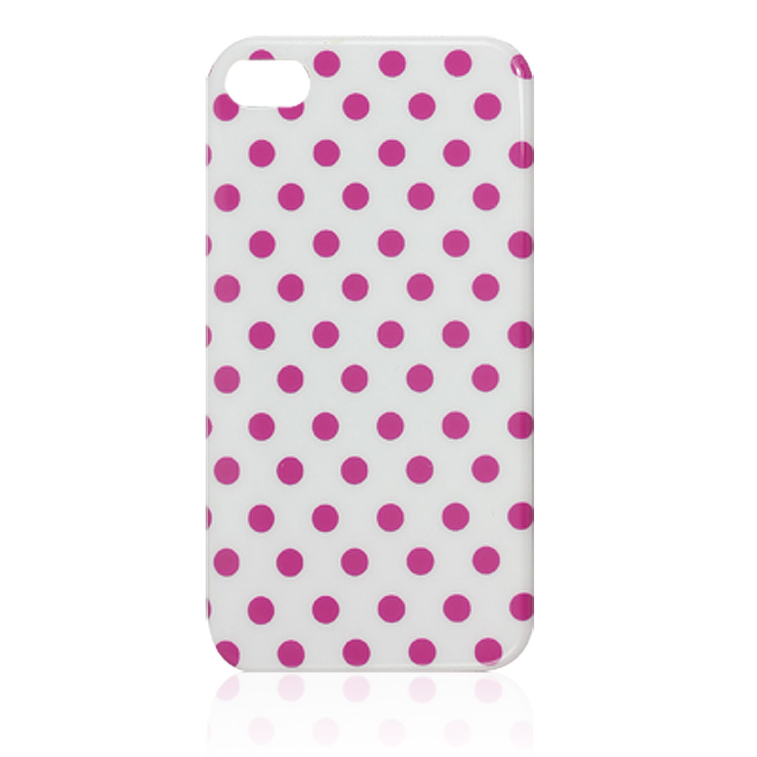 IMD Fuchsia Dots Decor White Plastic Back Cover Case for iPhone 4 4G 4S