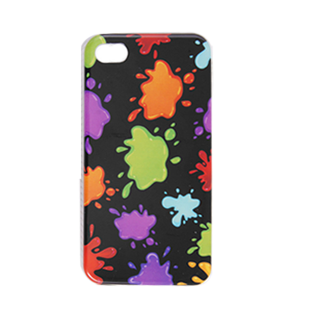 Colorful Water Drops Pattern IMD Plastic Back Case Black for iPhone 4 4G 4S