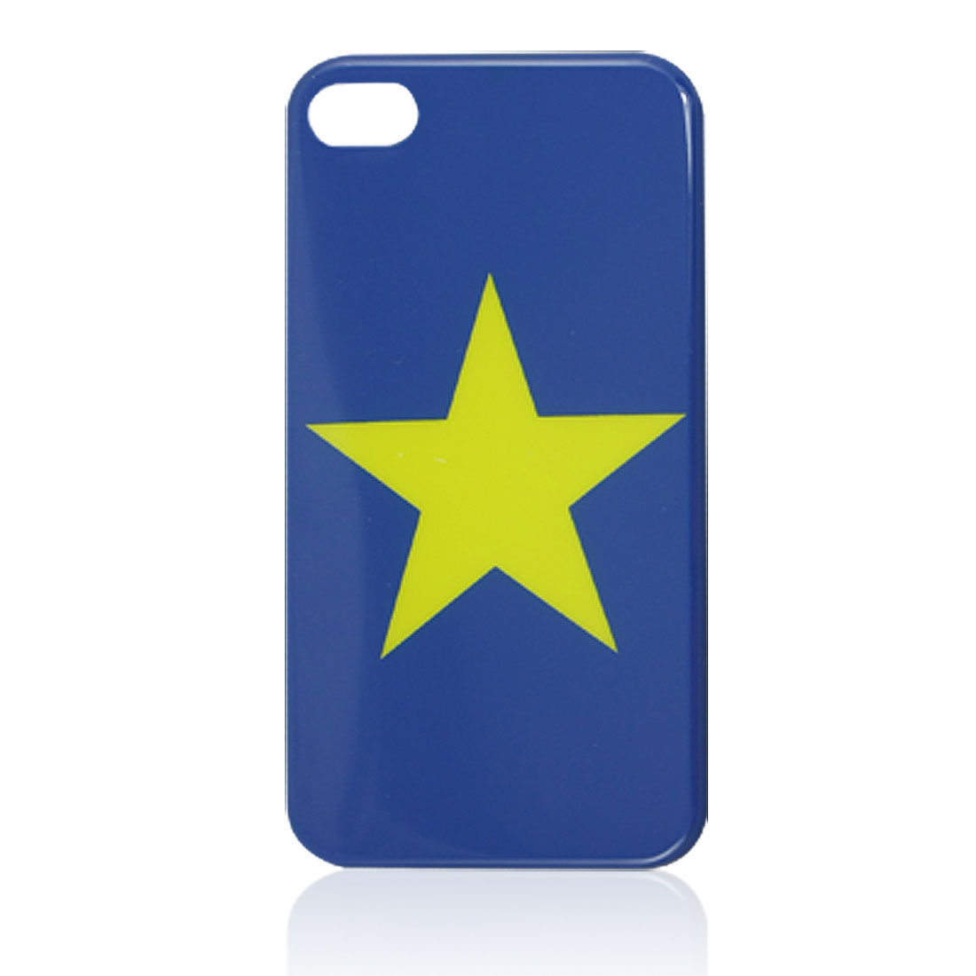 IMD Yellow Star Print Blue Plastic Back Case Shell for iPhone 4 4G 4S