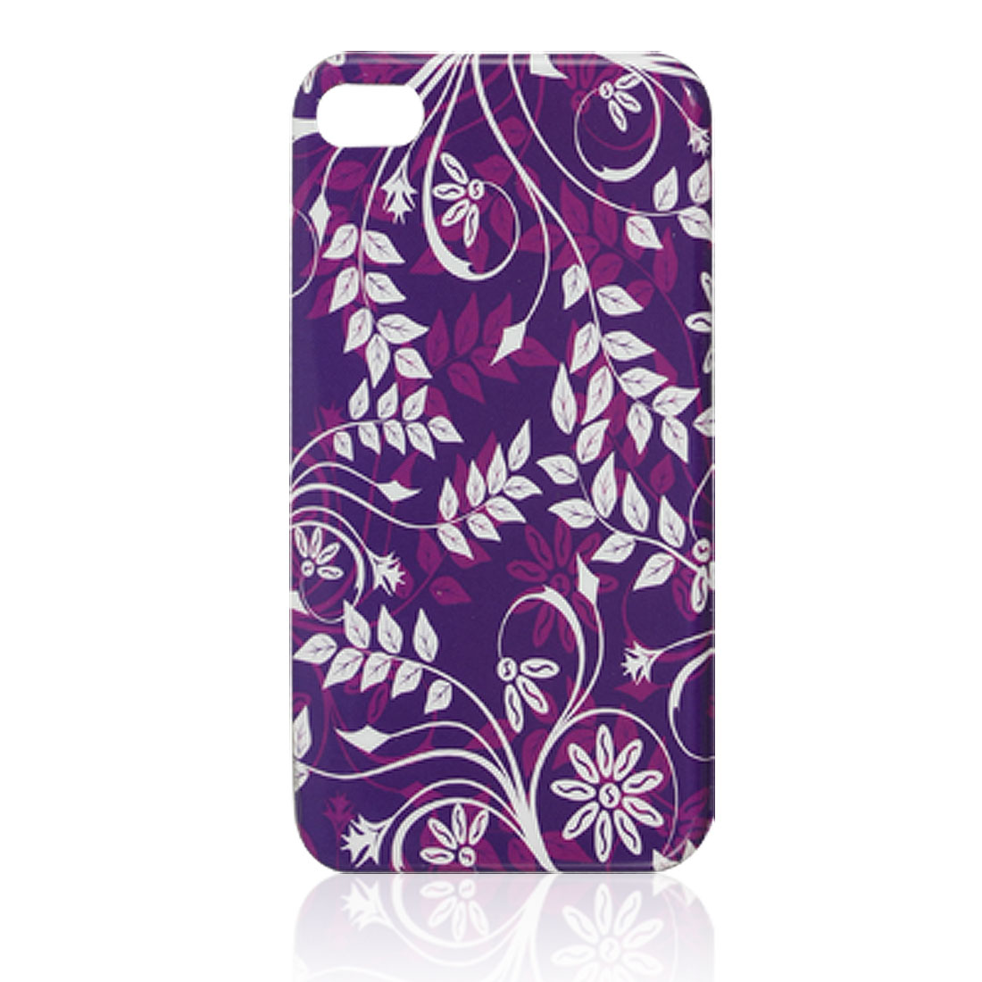 IMD Vine Floral Pattern Purple Plastic Back Cover for iPhone 4 4G 4S