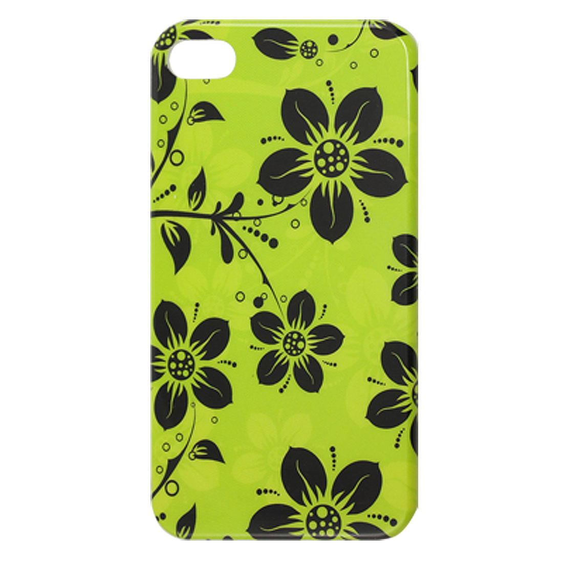 Hard Plastic Black Flower Green IMD Back Case Cover for iPhone 4 4G 4S