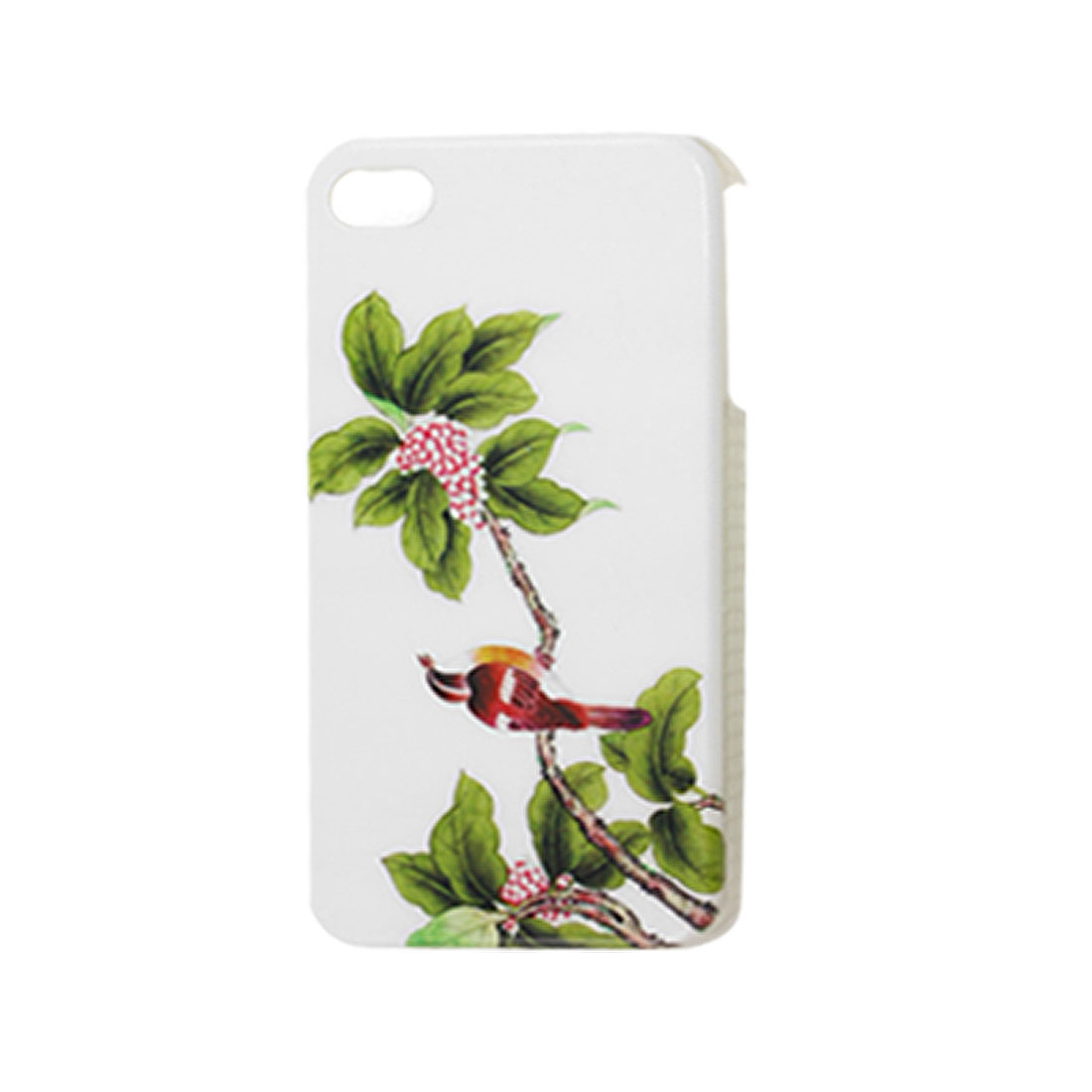 Burgundy Bird Red Leaves White Hard Plastic IMD Back Case for iPhone 4 4G 4S