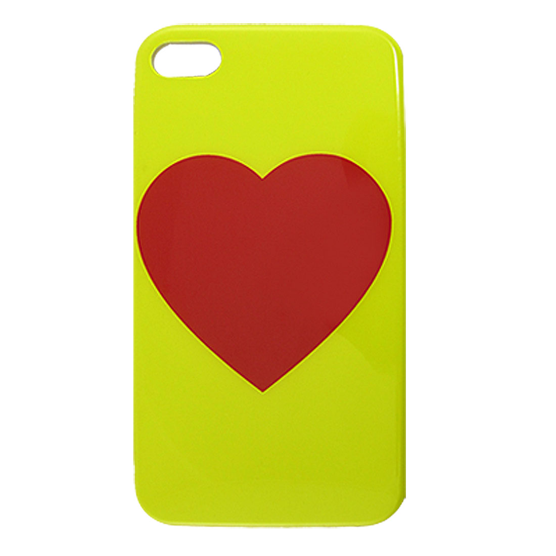 Red Heart Pattern Yellow Hard Plastic IMD Back Case for iPhone 4 4G 4S