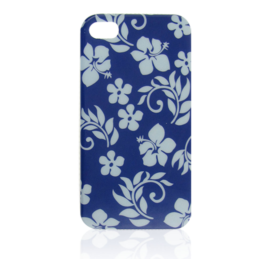 Blue Plastic Tree Branch Flower Pattern IMD Shell Back Case for iPhone 4 4G 4S