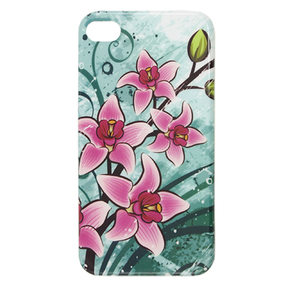 IMD Purple Flowers Green Plastic Back Case for iPhone 4 4G 4S