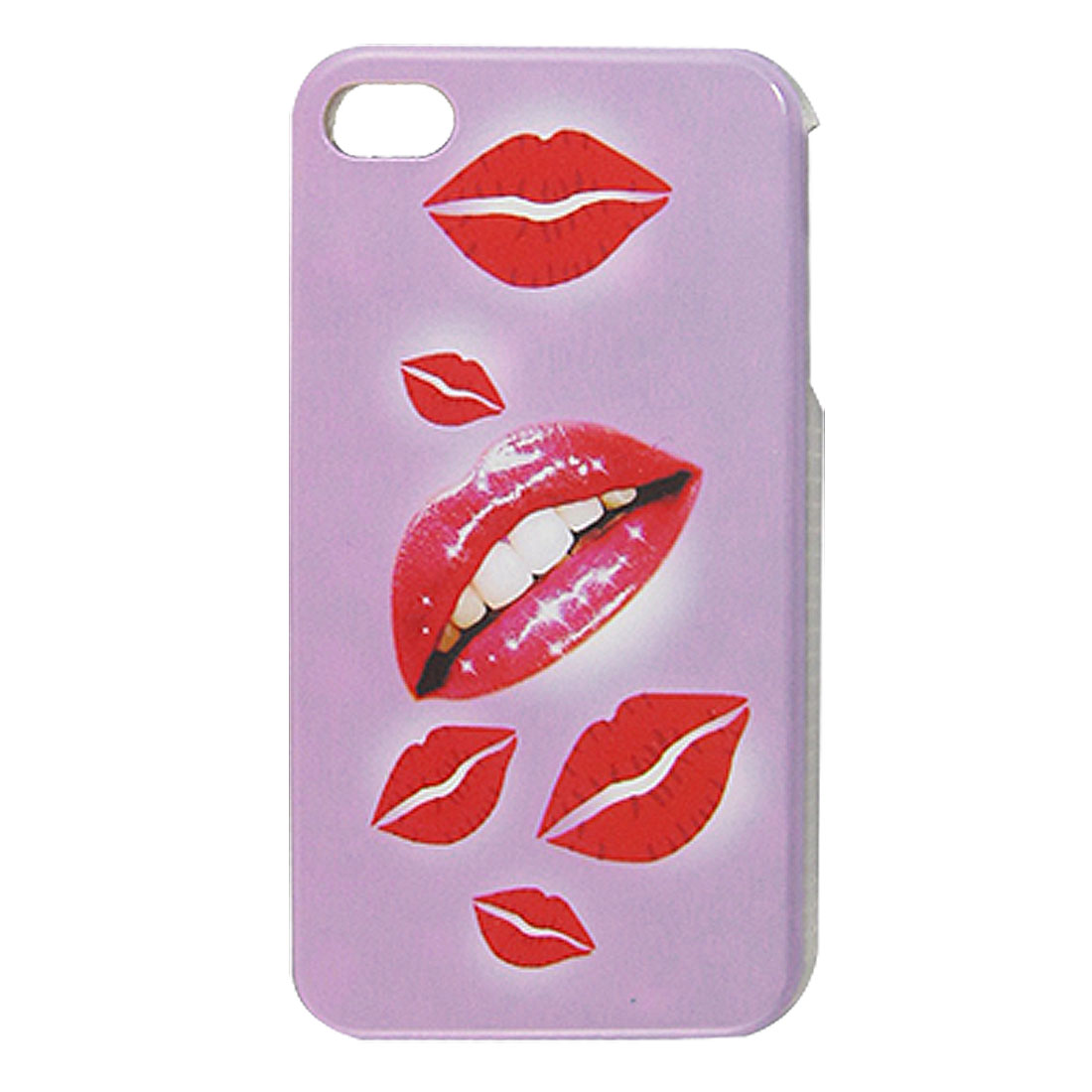 Lilac Red IMD Lip Print Hard Plastic Back Case for iPhone 4 4G 4S