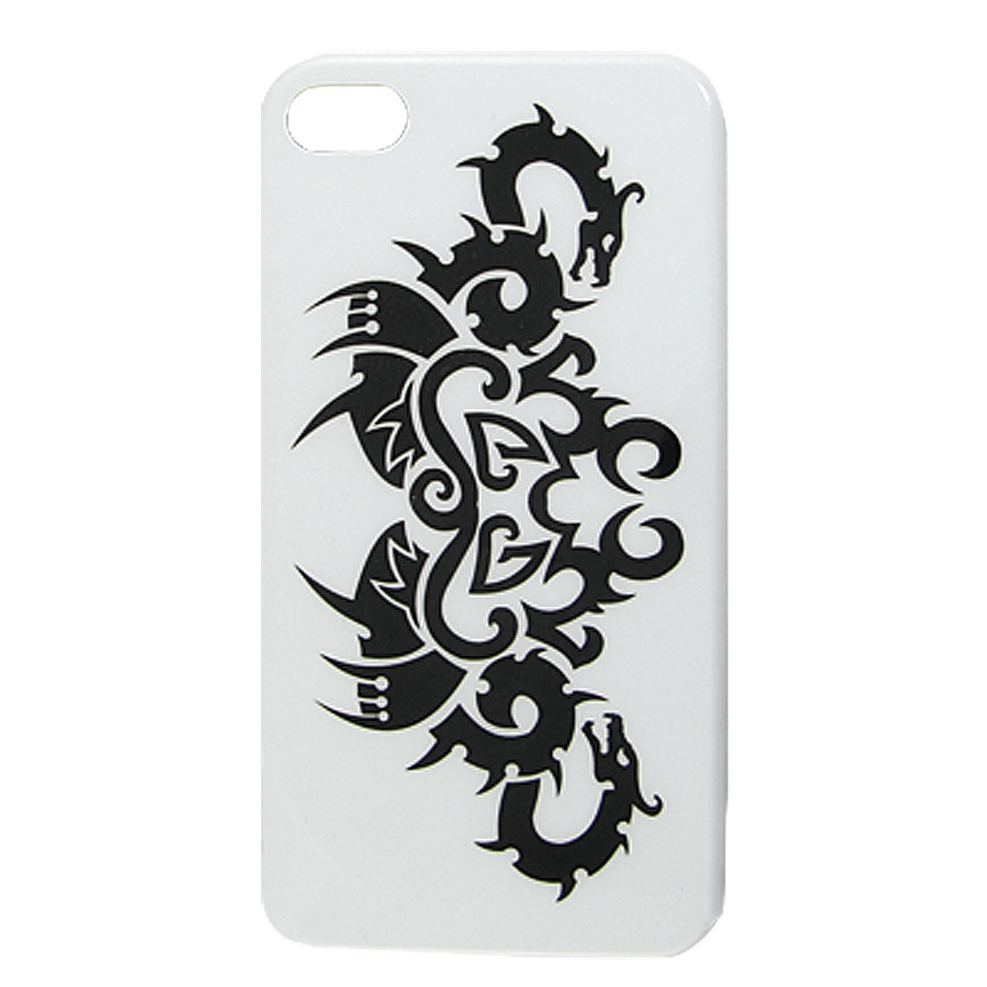 Black Dragon Pattern IMD White Hard Plastic Protective Back Case Shell for iPhone 4 4G 4S